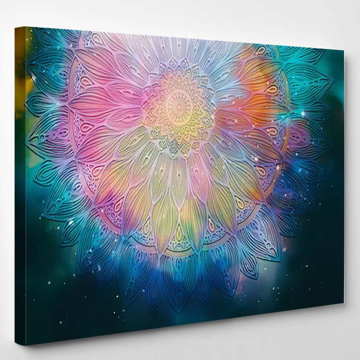 Abstract Ancient Geometric Star Field Colorful 10 - Galaxy Sky and Space Canvas Art Print