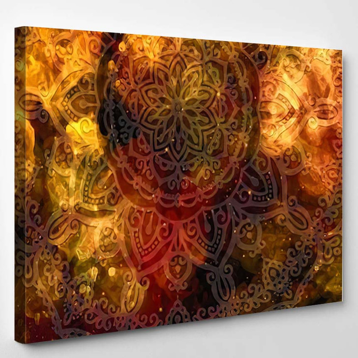 Abstract Ancient Geometric Star Field Colorful 13 - Galaxy Sky and Space Canvas Art Print