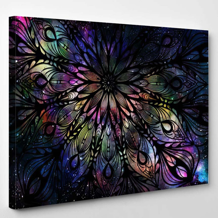 Abstract Ancient Geometric Star Field Colorful 16 - Galaxy Sky and Space Canvas Art Print