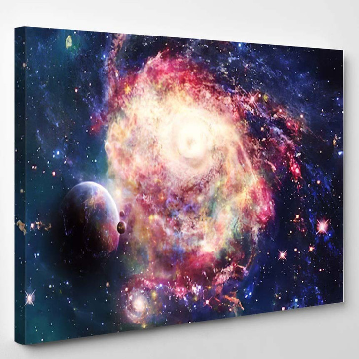 Abstract Artistic Beautiful Colorful Galaxy Space - Galaxy Sky and Space Canvas Art Print