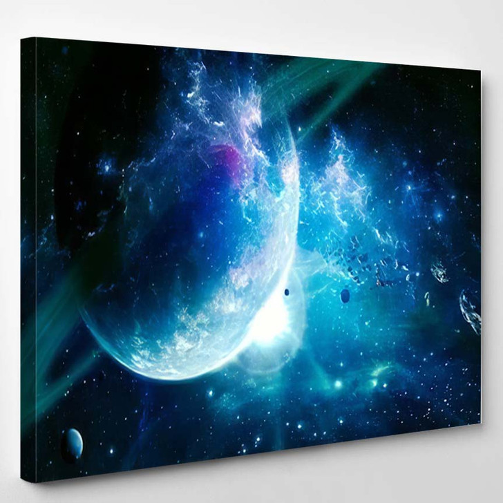 Abstract Artistic Cyan Planet Beautiful Saturns - Galaxy Sky and Space Canvas Art Print