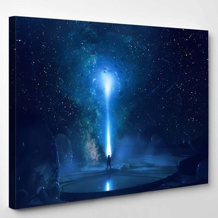 Abstract Artistic Digital Paint Galactic Gate - Galaxy Sky and Space Canvas Art Print