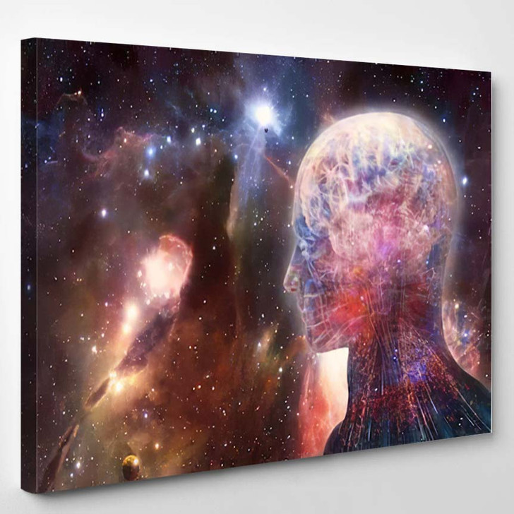 Abstract Artistic Modern Digital Artificial Intelligent - Galaxy Sky and Space Canvas Art Print