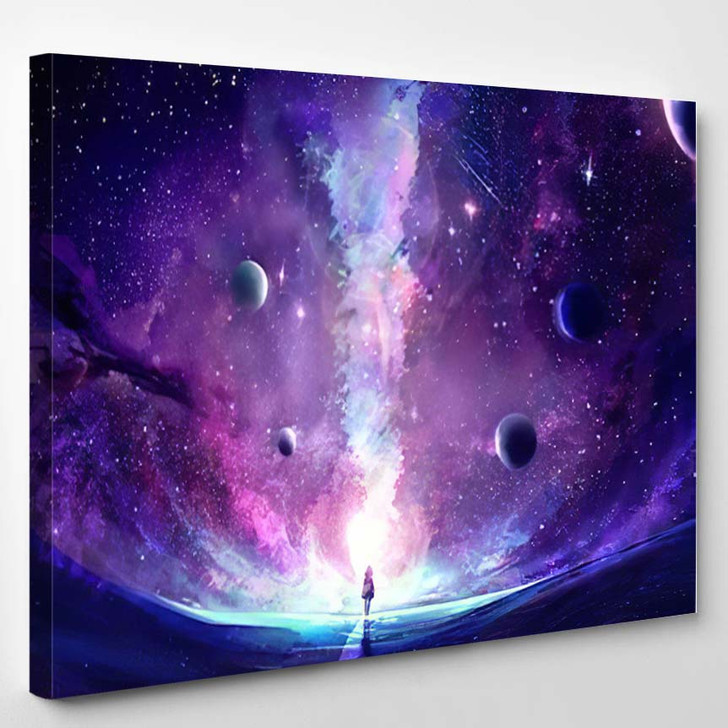 Abstract Artistic Multicolored Dimensional Galactic Nebula - Galaxy Sky and Space Canvas Art Print