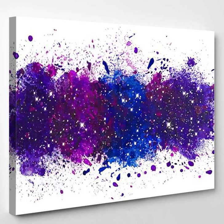 Abstract Artistic Watercolor Paint Splash Background - Galaxy Sky and Space Canvas Art Print