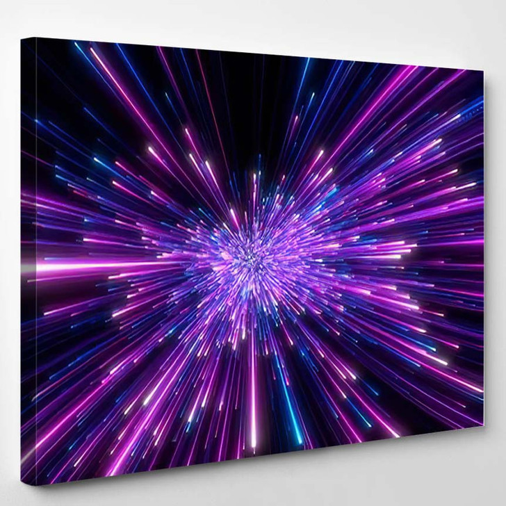 Abstract Background Blue Purple Neon Glow - Galaxy Sky and Space Canvas Art Print