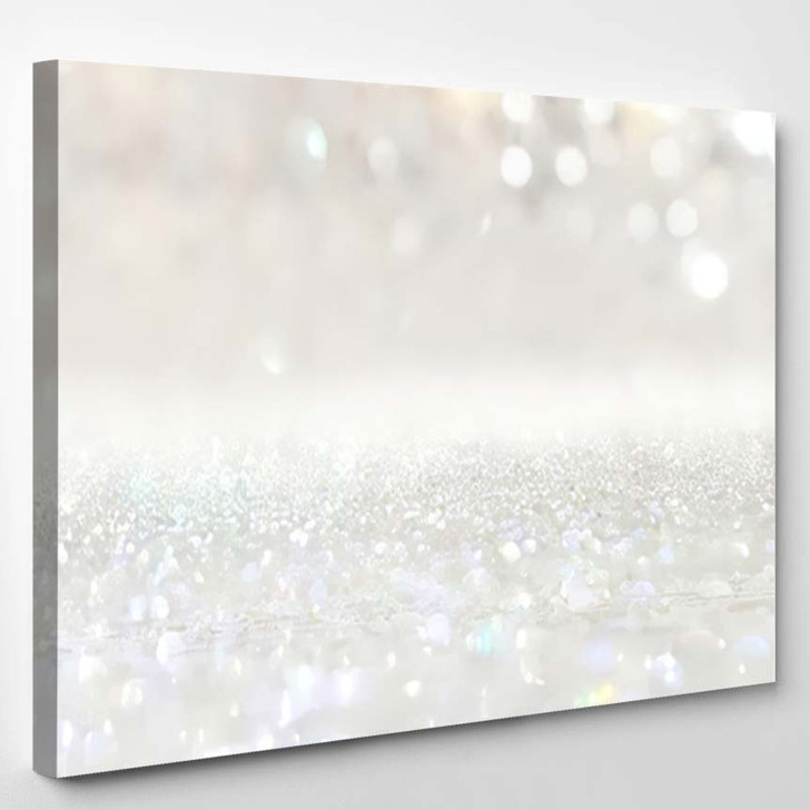 Abstract Backgrounf Glitter Vintage Lights Silver 2 - Galaxy Sky and Space Canvas Art Print
