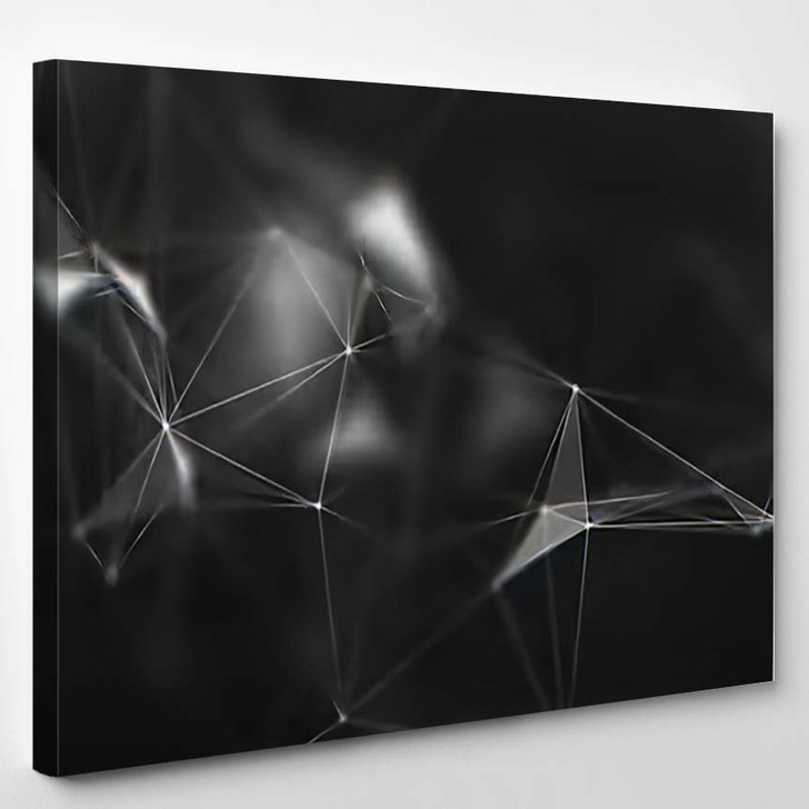 Abstract Black White Digital Background Cybernetic - Galaxy Sky and Space Canvas Art Print
