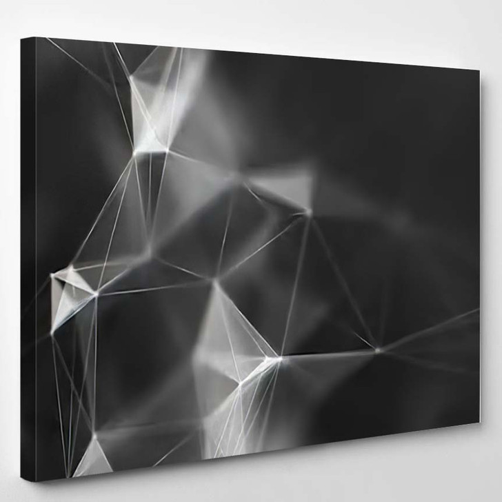Abstract Black White Digital Background Cybernetic 1 - Galaxy Sky and Space Canvas Art Print