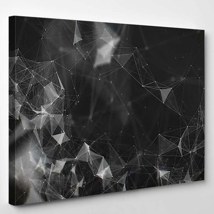 Abstract Black White Digital Background Cybernetic 2 - Galaxy Sky and Space Canvas Art Print