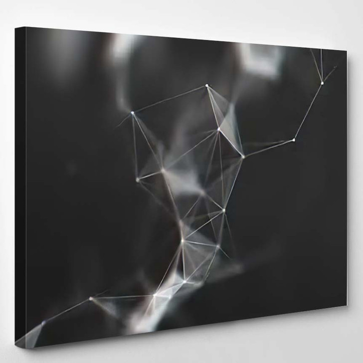 Abstract Black White Geometrical Background - Galaxy Sky and Space Canvas Art Print