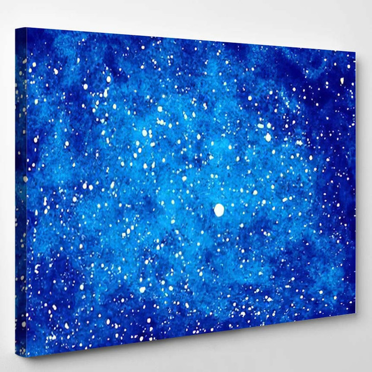Abstract Blue Background Stars Watercolor Night - Galaxy Sky and Space Canvas Art Print