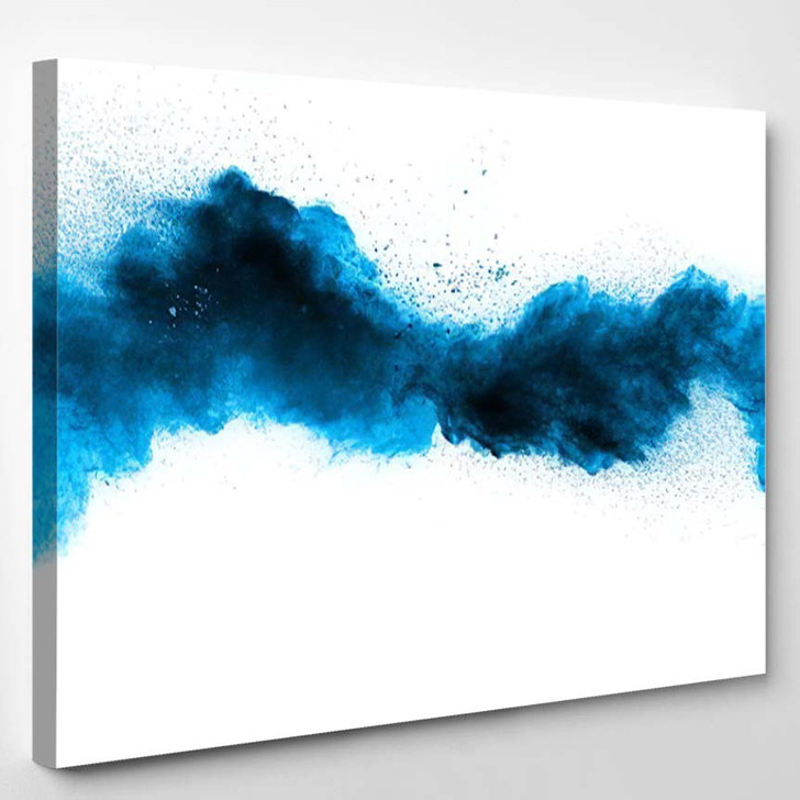 Abstract Blue Dust Explosion On White 1 - Galaxy Sky and Space Canvas Art Print