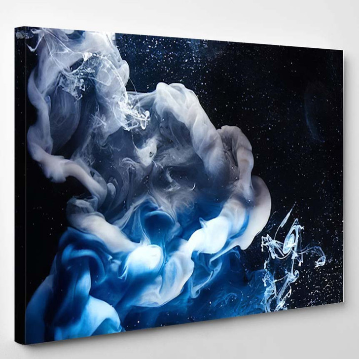 Abstract Blue Outer Space Science Background 1 - Galaxy Sky and Space Canvas Art Print