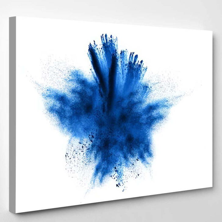 Abstract Blue Powder Explosion On White 1 - Galaxy Sky and Space Canvas Art Print