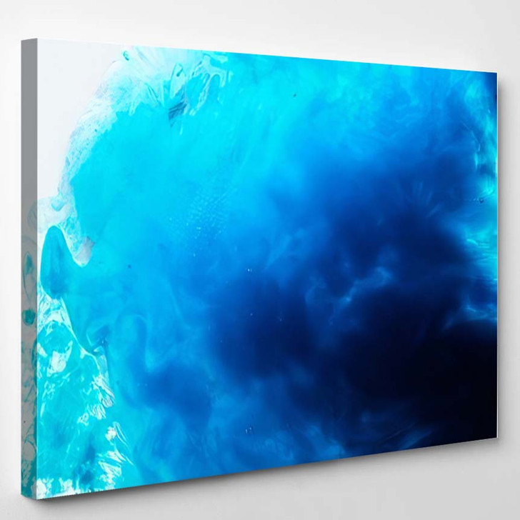 Abstract Blue Psychedelic Dance Liquid Background 1 - Galaxy Sky and Space Canvas Art Print