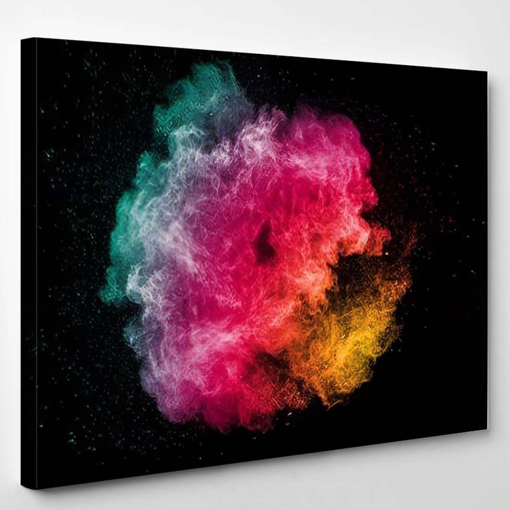Abstract Bright Colorful Powder On Black 2 - Galaxy Sky and Space Canvas Art Print