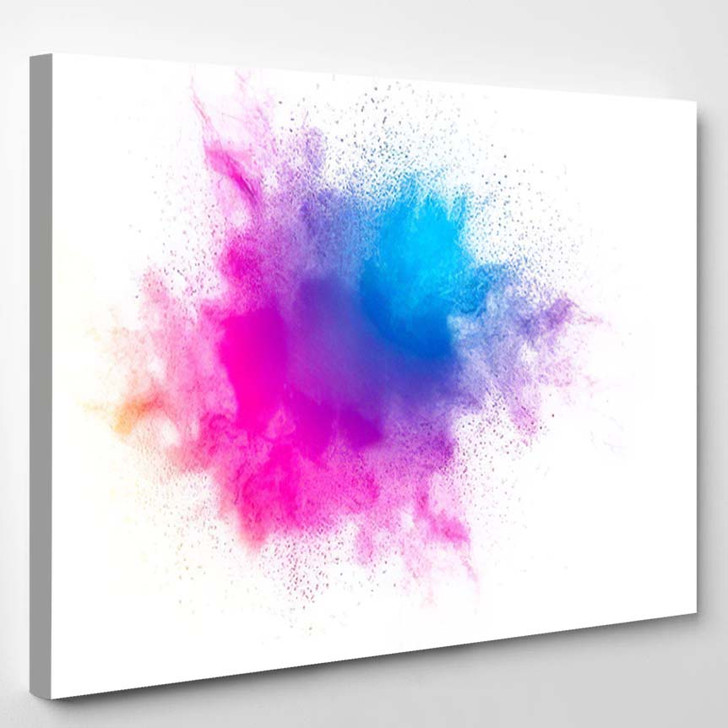 Abstract Bright Colorful Powder On White 2 - Galaxy Sky and Space Canvas Art Print