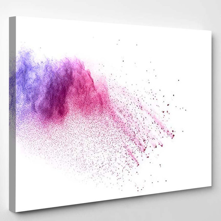 Abstract Bright Colorful Powder On White 1 1 - Galaxy Sky and Space Canvas Art Print