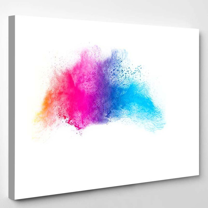 Abstract Bright Colorful Powder On White 2  1 - Galaxy Sky and Space Canvas Art Print