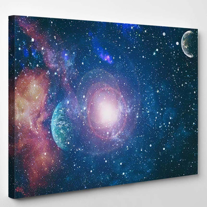 Abstract Bright Colorful Universe Nebula Night 17 - Galaxy Sky and Space Canvas Art Print