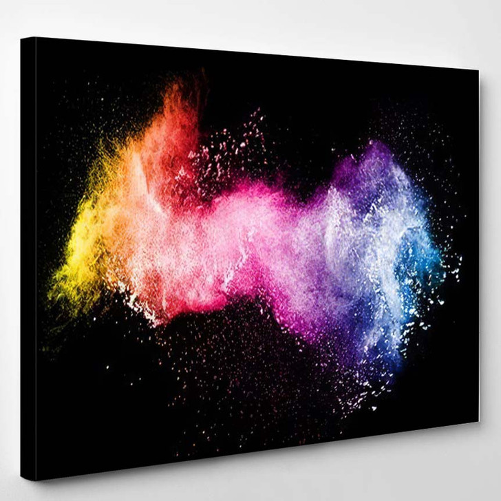 Abstract Color Powder Explosion On Black 1 - Galaxy Sky and Space Canvas Art Print