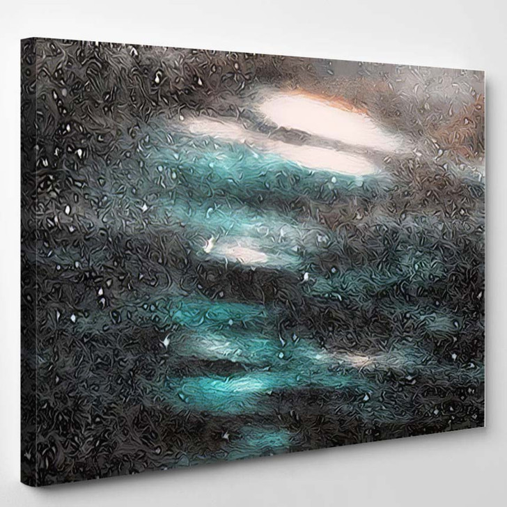 Abstract Colorful Blue Background White Particles 1 - Galaxy Sky and Space Canvas Art Print