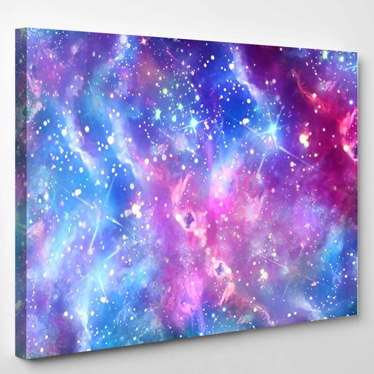 Abstract Colorful Galaxy Bright Stars Background - Galaxy Sky and Space Canvas Art Print