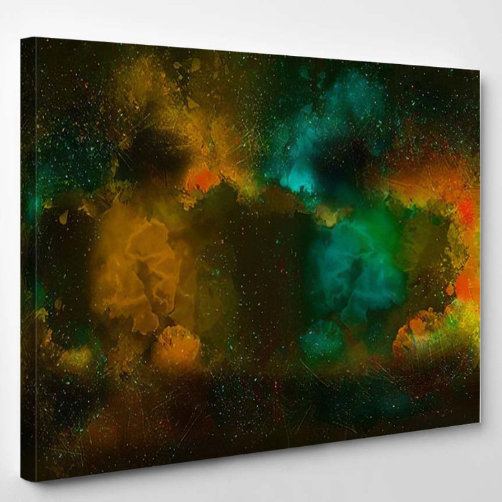 Abstract Colorful Watercolor Painting Background Brush - Galaxy Sky and Space Canvas Art Print