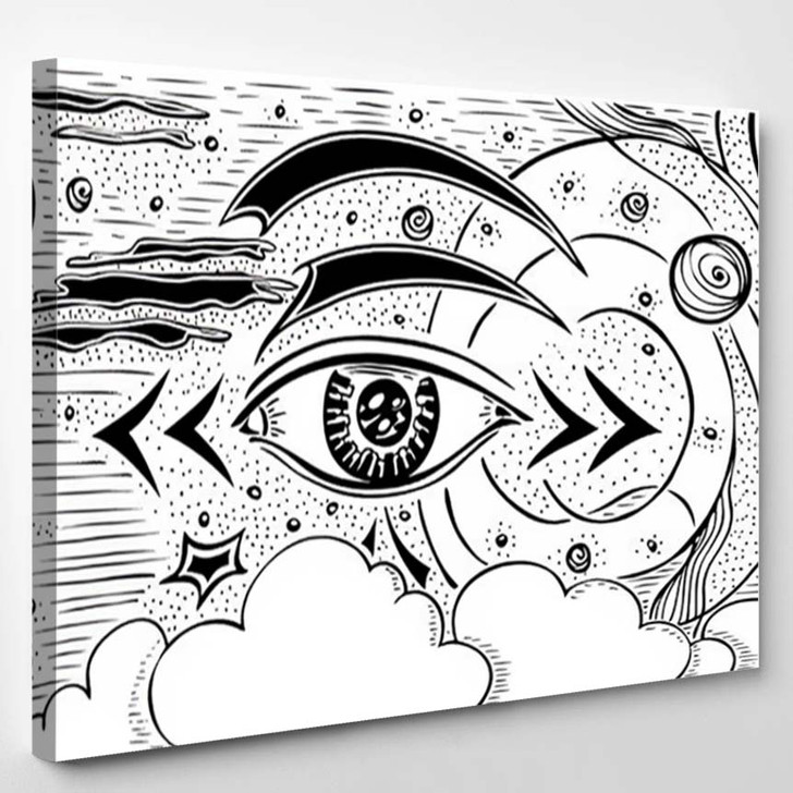 Abstract Composition Eye Cosmos Planets Space - Galaxy Sky and Space Canvas Art Print