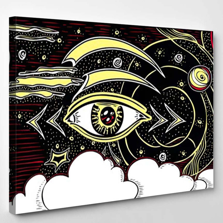 Abstract Composition Eye Cosmos Planets Space 1 - Galaxy Sky and Space Canvas Art Print