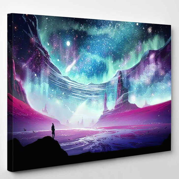 Abstract Digital Painting Man Standing On - Galaxy Sky and Space Canvas Art Print