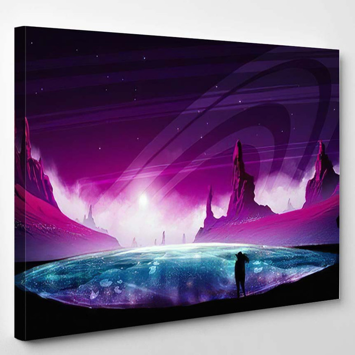 Abstract Digital Painting Man Standing On 1 - Galaxy Sky and Space Canvas Art Print