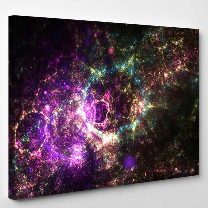 Abstract Fractal Space Galaxy Digital Artwork - Galaxy Sky and Space Canvas Art Print