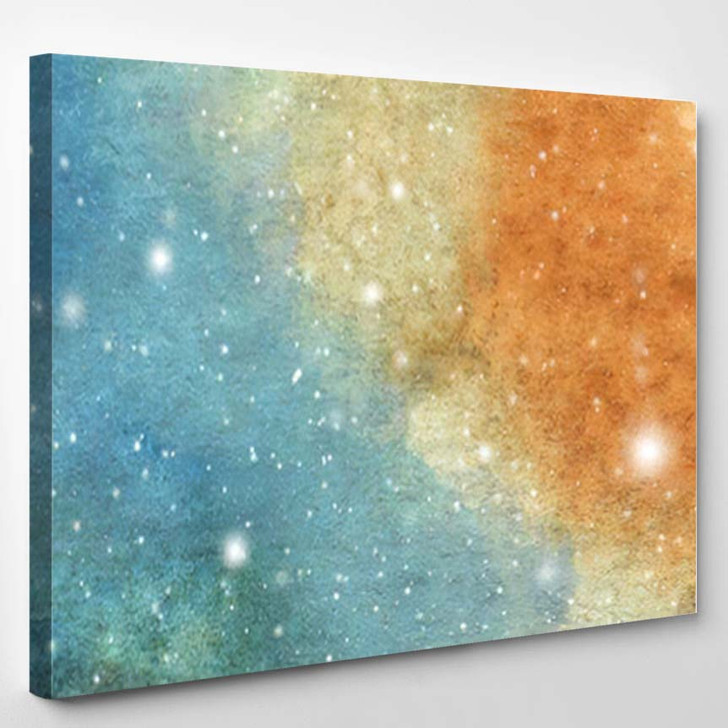 Abstract Galaxy Painting Watercolor Cosmic Texture 1 - Galaxy Sky and Space Canvas Art Print