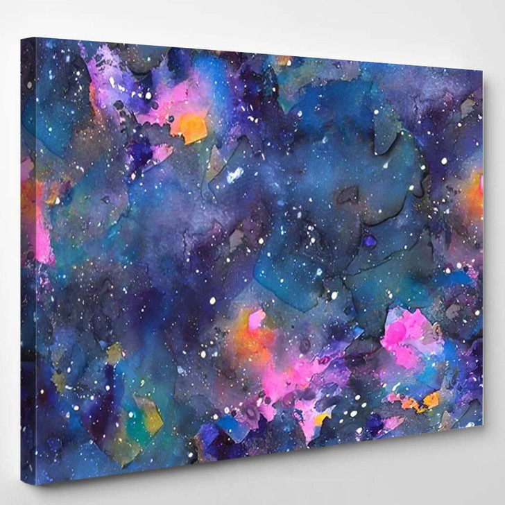 Abstract Galaxy Seamless Pattern Drawn Watercolors - Galaxy Sky and Space Canvas Art Print