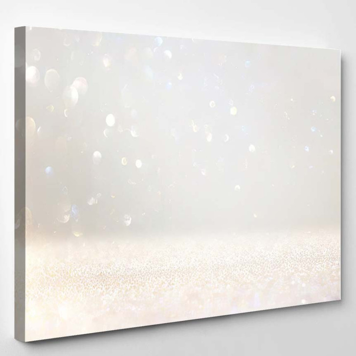 Abstract Glitter Lights Background Silver White 1 - Galaxy Sky and Space Canvas Art Print