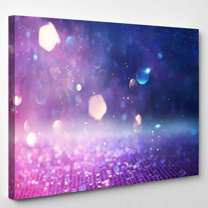Abstract Glitter Pink Purple Blue Lights 1 - Galaxy Sky and Space Canvas Art Print