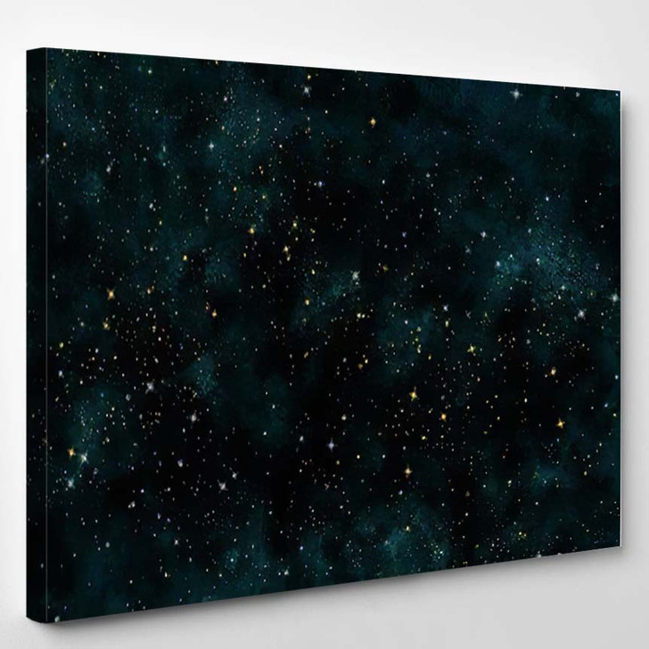 Abstract Green Digital Watercolor Galaxy Painting - Galaxy Sky and Space Canvas Art Print