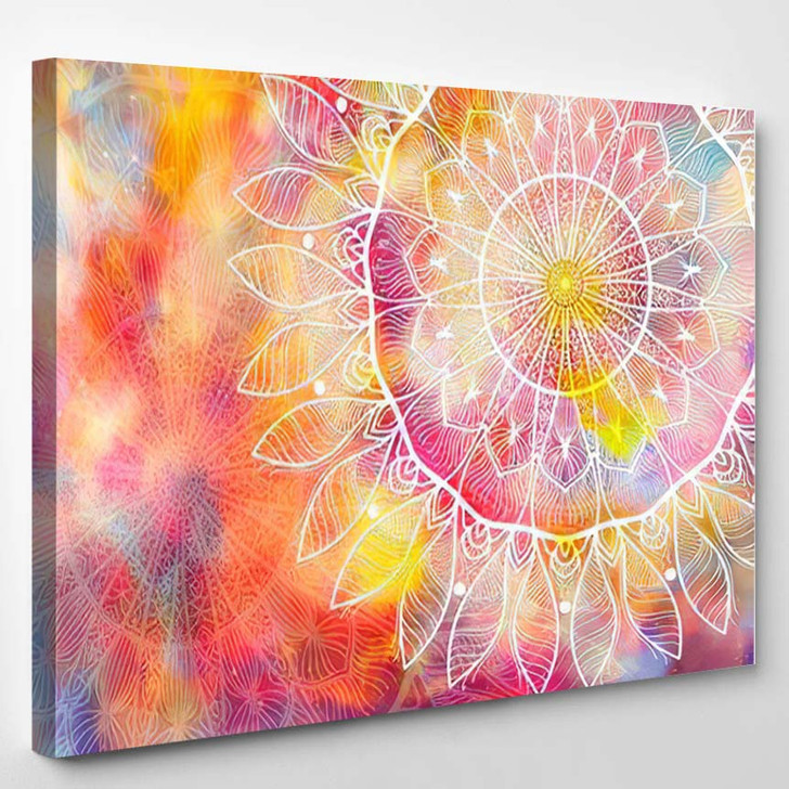 Abstract Mandala Graphic Design Watercolor Digital 6 1 - Galaxy Sky and Space Canvas Art Print
