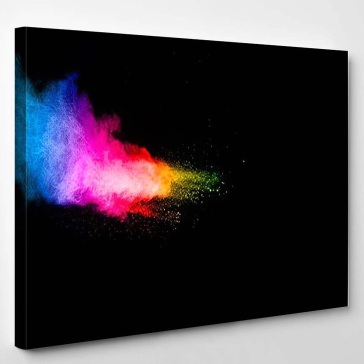 Abstract Multicolored Powder Explosion On Black - Galaxy Sky and Space Canvas Art Print