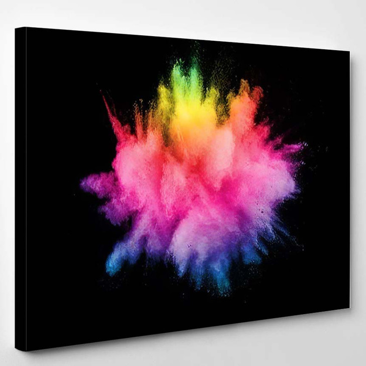 Abstract Multicolored Powder Explosion On Black 1 - Galaxy Sky and Space Canvas Art Print