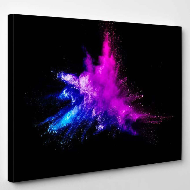 Abstract Multicolored Powder Splatted On Black - Galaxy Sky and Space Canvas Art Print