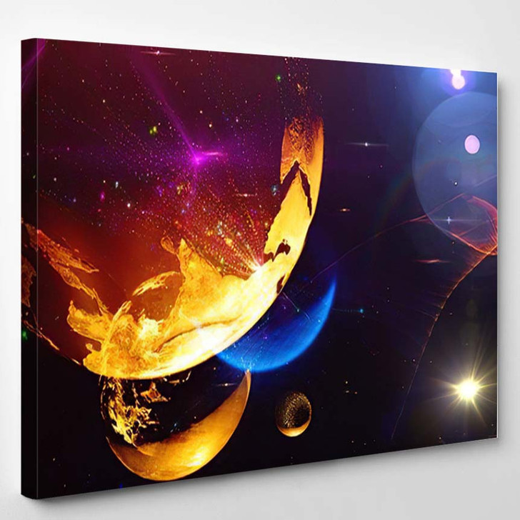 Abstract Multicolored Space Background Science Fiction - Galaxy Sky and Space Canvas Art Print