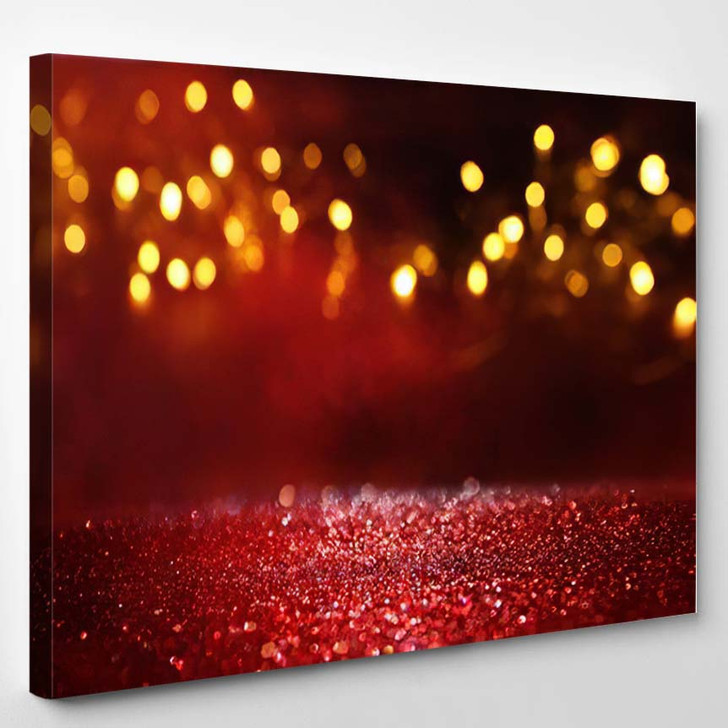 Abstract Red Glitter Lights Background Defocused - Galaxy Sky and Space Canvas Art Print