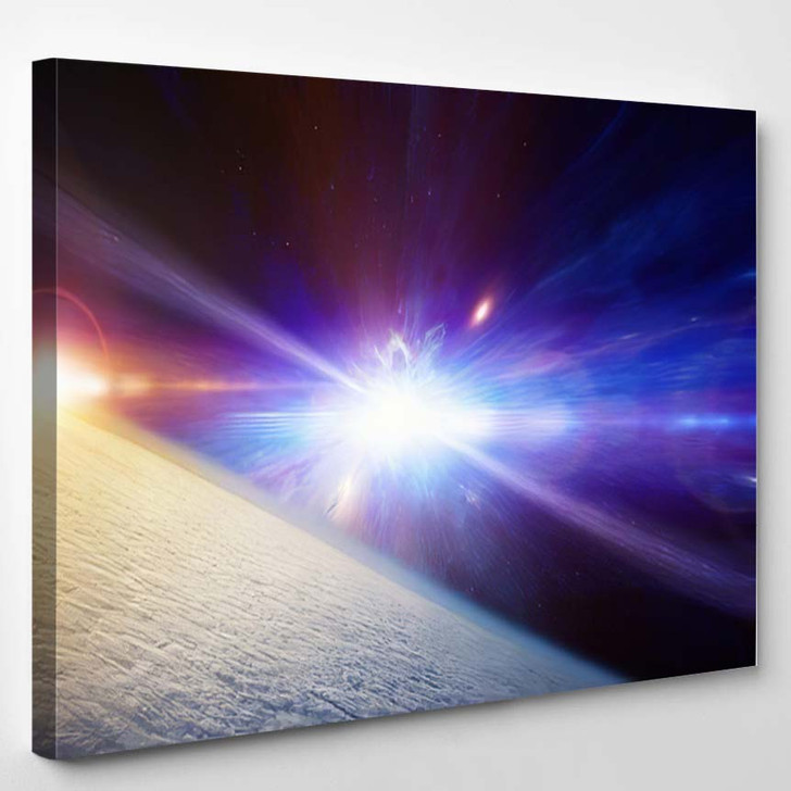 Abstract Scientific Background Planet Earth Covered - Galaxy Sky and Space Canvas Art Print