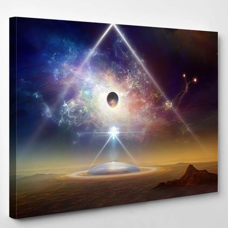 Abstract Scifi Collage Aliens Space Ship 2 - Galaxy Sky and Space Canvas Art Print