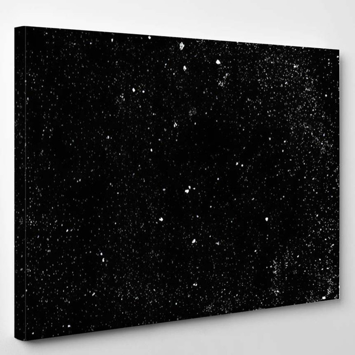 Abstract Spatter Texture Background Black White - Galaxy Sky and Space Canvas Art Print