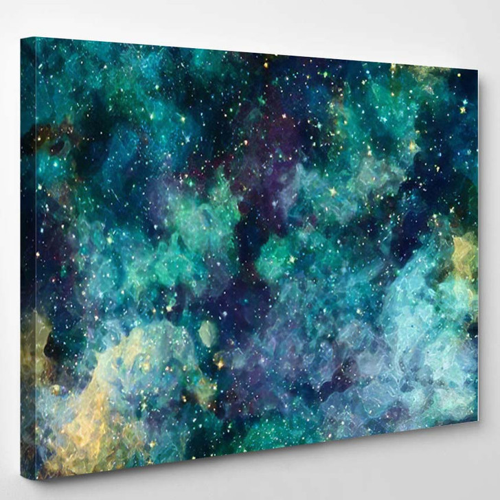 Abstract Star Field Galaxy Space Watercolor 1 - Galaxy Sky and Space Canvas Art Print