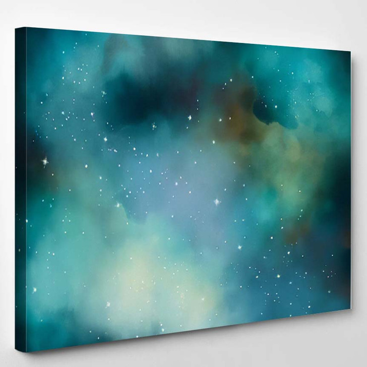 Abstract Star Field Galaxy Space Watercolor 2 - Galaxy Sky and Space Canvas Art Print